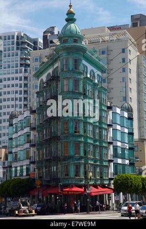 Copper green Columbus Tower (aka Sentinel Building, 1907), downtown San Francisco, California, USA - Stock Photo