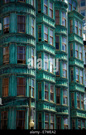 Facade of copper green Columbus Tower (aka Sentinel Building, 1907), downtown San Francisco, California, USA - Stock Photo