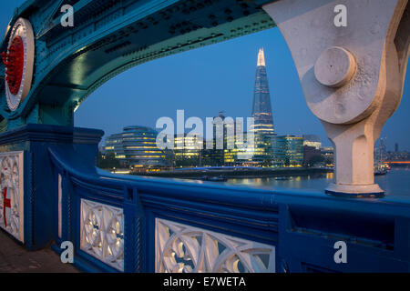 River Thames, the Shard, City Hall before dawn, viewed from Tower Bridge, London, England - Stock Photo