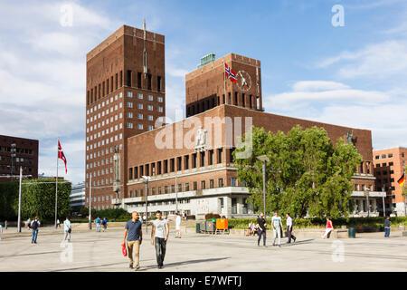 Radhus, Oslo City Hall, Norway - Stock Photo