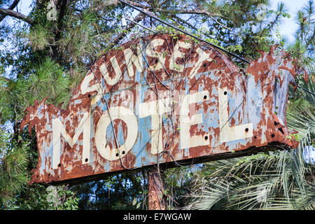 Vintage motel sign found along Route 1 in Florida. - Stock Photo