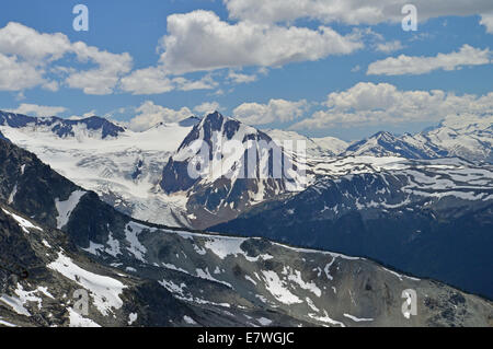 The rugged mountain scenery seen from Whistler resort. - Stock Photo