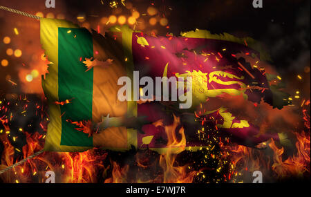 Sri Lanka Burning Fire Flag War Conflict Night 3D - Stock Photo