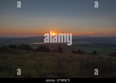 Sundown near Lancing West Sussex - Stock Photo