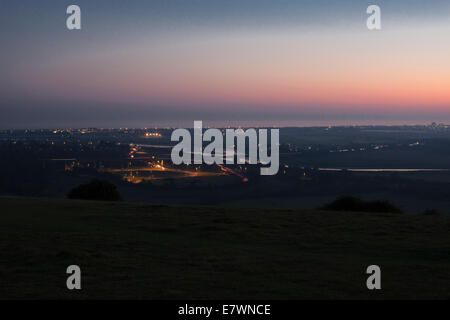 View on Shoreham flyover with sunset - Stock Photo