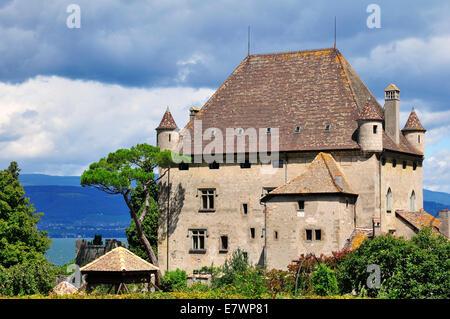 Yvoire Castle on Lake Geneva or Lac Leman, Yvoire, Rhone-Alpes, Haute-Savoie, France - Stock Photo