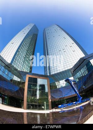 Main entrance and portal of Deutsche Bank, fisheye, Frankfurt am Main, Hesse, Germany - Stock Photo