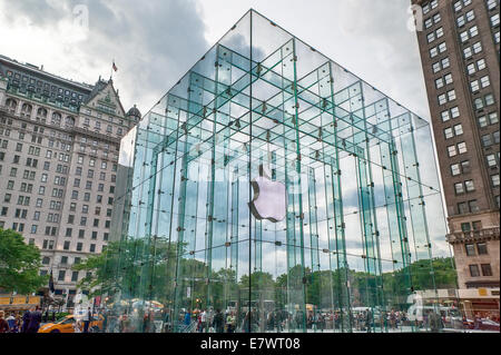 The glass cube over the Apple computer store in New York City. - Stock Photo