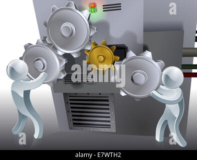 Cogs conceptual illustration of two 3d figures working a machine with cogs or gears. - Stock Photo