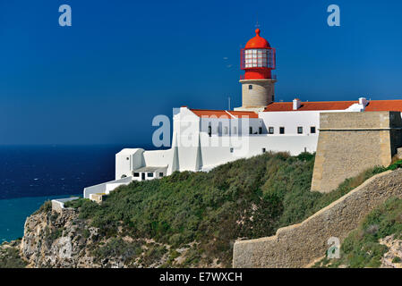 Portugal, Algarve: Lighthouse at Cape Saint Vincent - Stock Photo