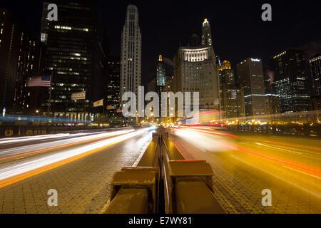 Night traffic on DuSable Bridge in Chicago. - Stock Photo