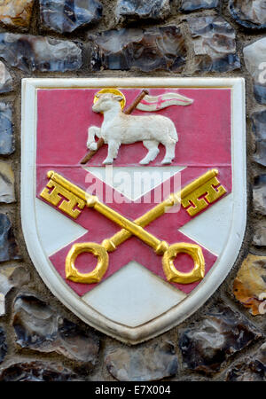 London, England, UK. Church House in Deans Yard, Westminster. Coat of arms set in the outside wall:  diocese of - Stock Photo