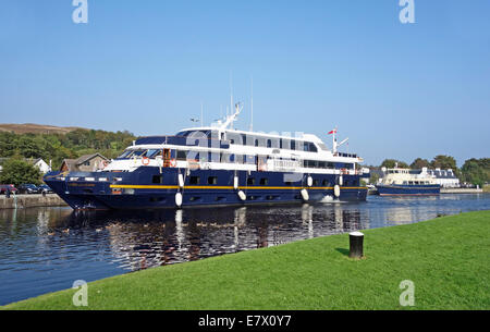 Cruise ship Lord of the Glens is mooring in the Corpach basin Caledonian Canal near Fort William having arrived - Stock Photo