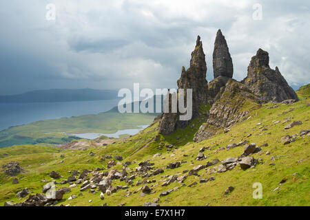 Looking over the Quiraing, Storr and the Sound of Raasay on the Isle of Skye, Scottish Highlands, Scotland. - Stock Photo