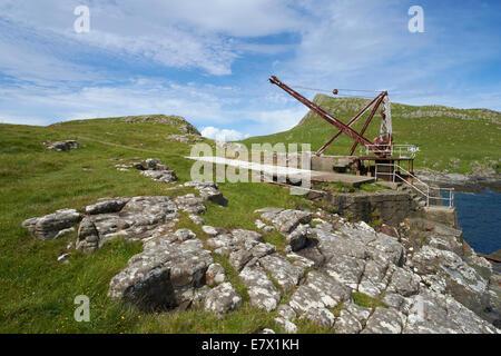 A crane over looking Moonen Bay, Neist Point on the Isle of Skye, Scottish Highlands, Scotland. - Stock Photo