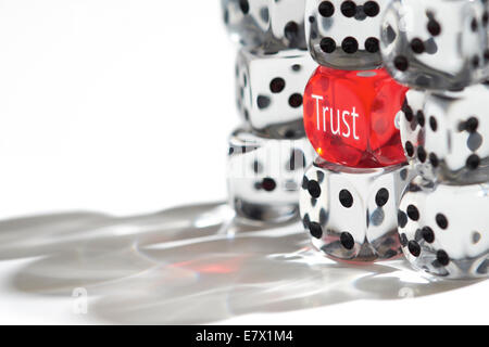 Red Dice Standing out from the crowd, Trust concept. - Stock Photo