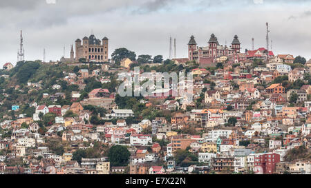 View of the densely packed houses on one of the many hills of Antananarivo, the capital city of Madagascar - Stock Photo