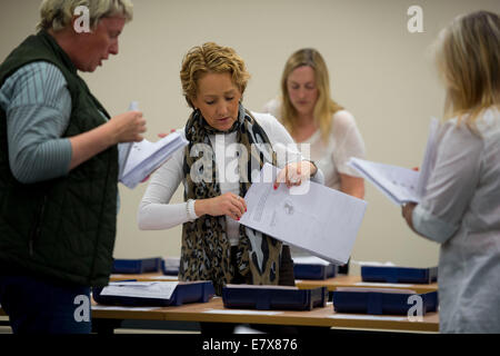 Ballot paper votes are counted by vote counters during the European election in Merthyr Tydfil. - Stock Photo