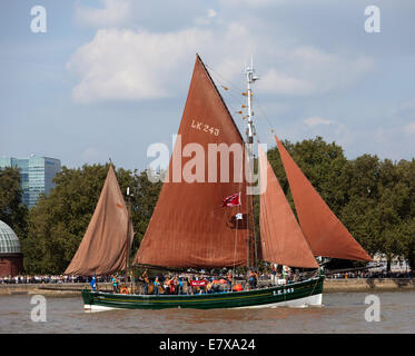 The Swan,a Scottish Fishing Boat  launched in 1900, taking part in the Parade of Sail, during the Tall Ships Festival, - Stock Photo