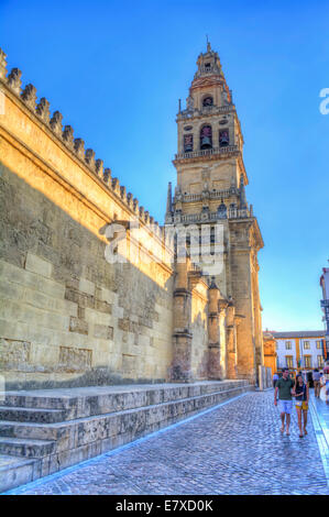 HDR image of the Bell tower and minaret, The Mosque–Cathedral of Córdoba, Córdoba, Spain - Stock Photo