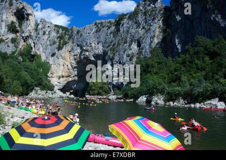 Beach on the Ardeche river near Vallon Pont d'Arc, Ardeche, Rhone-Alpes, France, Europe - Stock Photo