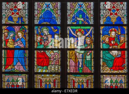 BRUGES, BELGIUM - JUNE 12, 2014: The New Testament scenes on windowpane in St. Salvator's Cathedral (Salvatorskerk) - Stock Photo