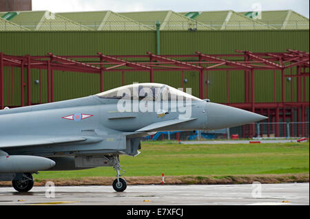 Eurofighter Typhoon FRG4 ZK335 ready for take off at RAF Lossiemouth, Morayshire.  SCO 9124 - Stock Photo