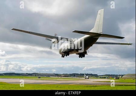 German Transall C160 Transport twin engined Aircraft arriving at RAF Lossiemouth, Scotland.  SCO 9127 - Stock Photo