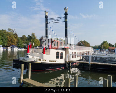 Paddle steamer, The New Orleans, moored on the river at Henley-On -Thames, Oxfordshire, UK - Stock Photo