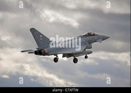 Eurofighter Typhoon FRG4 on approach to RAF Lossiemouth, Morayshire.  SCO 9131 - Stock Photo