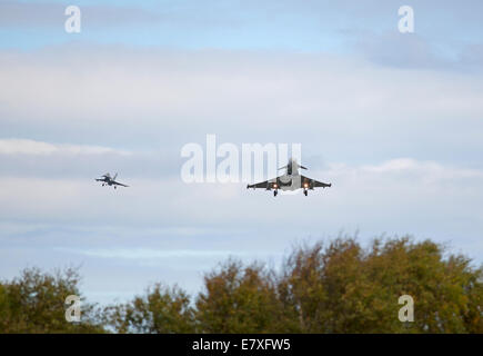 Eurofighter Typhoons FRG4 on approach to RAF Lossiemouth, Morayshire.  SCO 9132 - Stock Photo