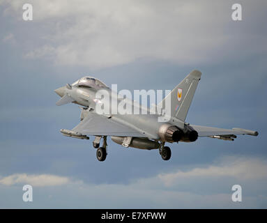 Eurofighter Typhoon FRG4 on approach to RAF Lossiemouth, Morayshire.  SCO 9134 - Stock Photo