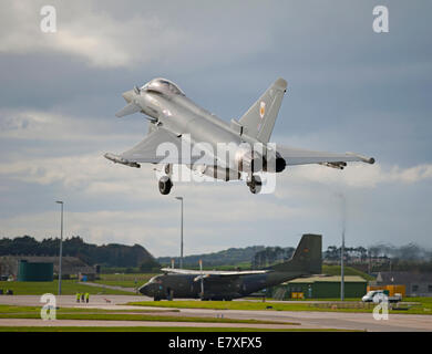 Eurofighter Typhoon FRG4 on approach to RAF Lossiemouth, Morayshire.  SCO 9135 - Stock Photo