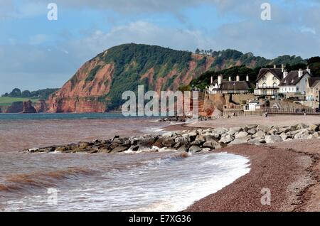 Seafront at Sidmouth Devon UK - Stock Photo