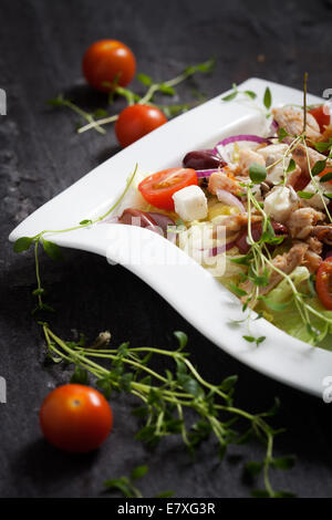 Fresh chicken salad with tomatoes and olives - Stock Photo