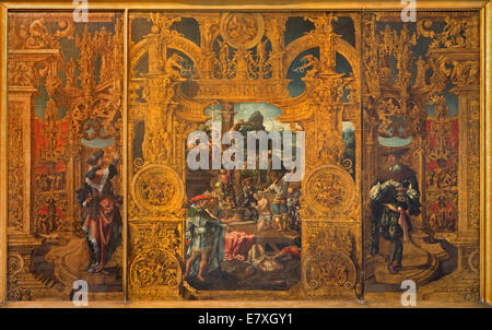 BRUGES, BELGIUM - JUNE 12, 2014: The Legenda of st. Cosmas and Damian in st. Jacobs church (Jakobskerk) by Lanceloot - Stock Photo