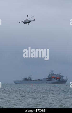 RFA Argus in Bournemouth Harbour as part of the 2014 Bournemouth Air Festival - Stock Photo