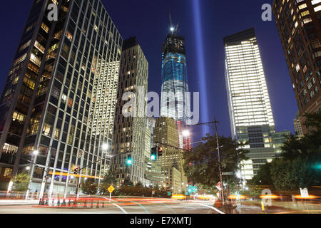 September 11 Tribute in Light 2012 viewed south along West Street - Stock Photo