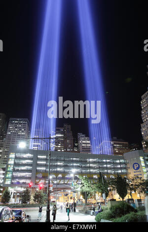 September 11 Tribute in Light 2012 viewed from the Hudson River walk. - Stock Photo