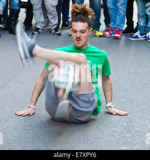 Rome, Italy, 04 May, 2014: Creative motion of street artist in Rome - Stock Photo