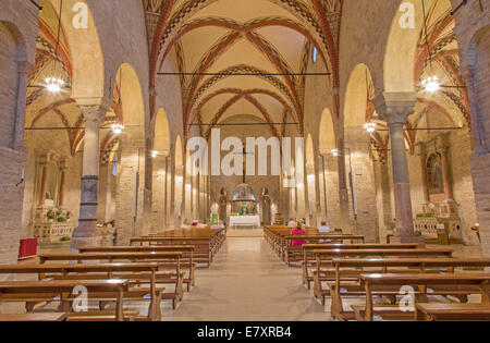 PADUA, ITALY - SEPTEMBER 9, 2014: The nave of church Chiesa di Santa Sofia. - Stock Photo