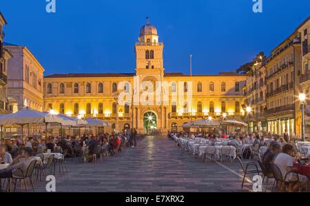 PADUA, ITALY - SEPTEMBER 11, 2014: Piazza dei Signori square and Torre del Orologio (astronomical clock tower) - Stock Photo