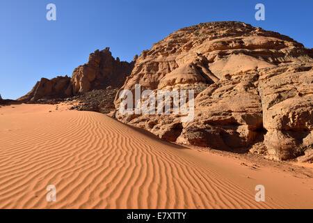 Rock formations at Tiseteka, Oued In Djeran, Tadrart region, Tassili N´Ajjer National Park, Unesco World Heritage - Stock Photo