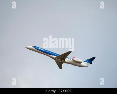BMI Regional Embraer EMB-145EP (ERJ-145EP) Short Haul Jet Passenger Aircraft. G-RJXC - Stock Photo
