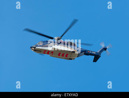 Sikorsky S92A helicopter operated by Bristow out of Aberdeen Dyce airport for Oil Field Worker Transfers. - Stock Photo