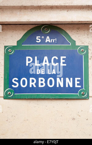 Sorbonne university street sign in Paris - Stock Photo