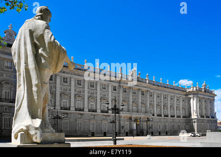 a view of the Palacio Real in Madrid, Spain - Stock Photo