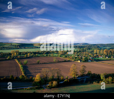 A view of the Wylye Valley in Wiltshire including the village of Norton Bavant. - Stock Photo