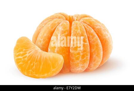 Peeled tangerine isolated on white - Stock Photo