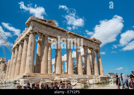 The Parthenon is a temple on the Athenian Acropolis, Greece, dedicated to the goddess Athena, whom the people of - Stock Photo